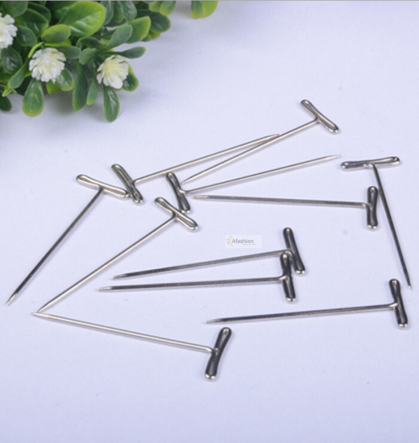 12pcs T pins for wig on foam head style t pin needle brazilian Indian mannequin head type sewing hair salon styling tools
