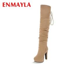 Women 43 สุภาพสตรียาวรองเท้าผู้หญิงฤดูหนาวแพลตฟอร์มรองเท้ารองเท้า ENMAYLA