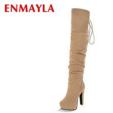 ENMAYLA ビッグサイズ 膝のブーツ以上の女性のためのタッセルレディースロングブーツ女性の冬プラットフォームのブーツの靴 43