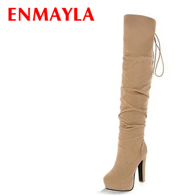 ENMAYLA Big Size 43 High Heels Over the Knee Boots for Women Flock Tassel Ladies Long Boots Women's Winter Platform Boots Shoes