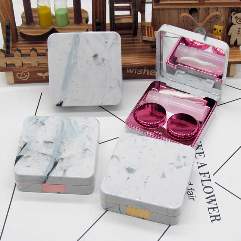 Lens Container Marble surface square mirror cover contact lens case Travel Container Holder Soaking contact lenses 088-01