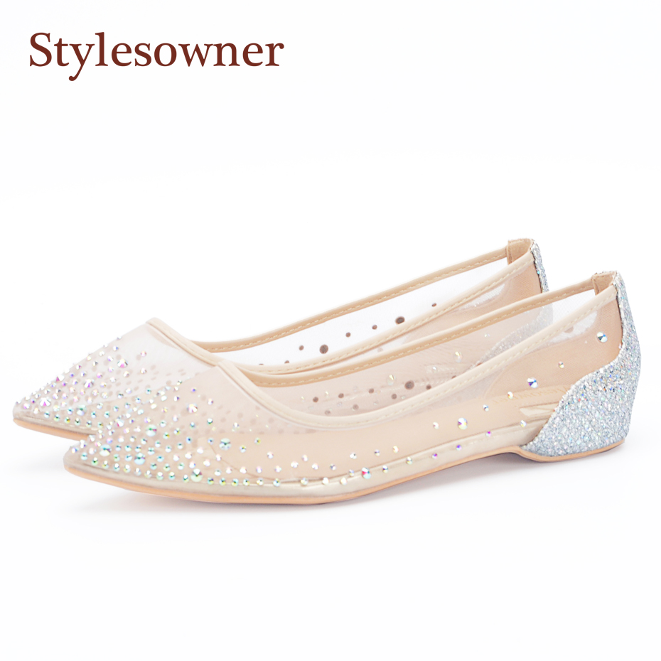 Stylesowner Spring Autumn Mesh Diamond Tip Single Flat Pointed Toe Shoes Wedding Women Shoes Slip On Casual Blingbling Crystal cresfimix women cute spring summer slip on flat shoes with pearl female casual street flats lady fashion pointed toe shoes