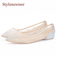 Stylesowner Spring Autumn Mesh Diamond Tip Single Flat Pointed Toe Shoes Wedding Women Shoes Slip On Casual Blingbling Crystal