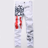 2017 Men S Fashion Slim Fit Jeans White Color Pants Trousers USA American Flag Jeans Printing