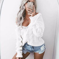 Winter Women Character Hollow Out Crocheted Sweater Solid Color Sexy Deep V Neck Long Sleeve Streetwear