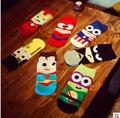 14 PCS = 7 pairs 42, 43, 44 MARVEL Ferro Superman SpiderMan Batman Capitão América engraçado dos desenhos animados ankle socks calcetines chaussette