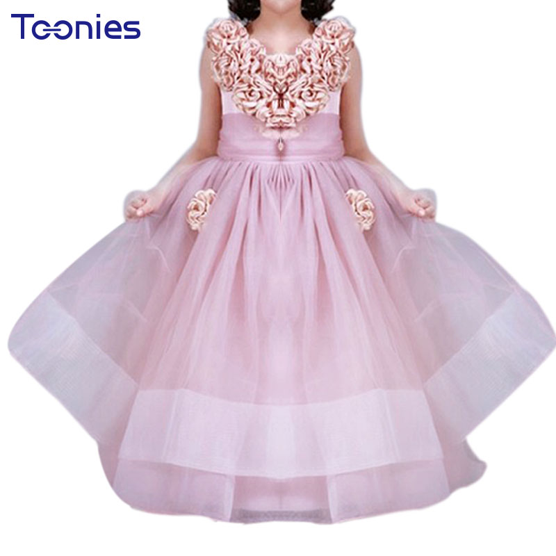 Elegant Princess Party Tutu Dress Asymmetrical Formal Party Ball Gown Prom First Communion Dresses for Girls Mesh Trailing Dress