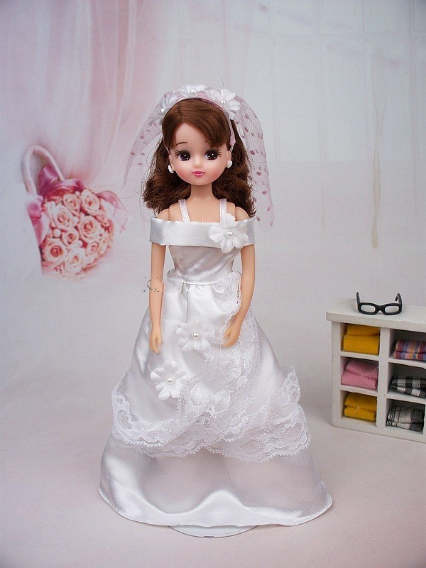 licca body+head+wedding dress normal skin suit for licca 1/6 doll