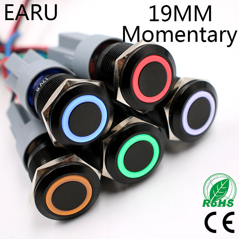 19mm Power Black Waterproof Momentary Reset Metal Push Button Switch LED Lamp Light Car Auto Engine Start PC 5V 12V 24V Blue Red 1pc 19mm power start push button with led 12v 24v momentary auto reset ring indication illuminated car dash power metal switch