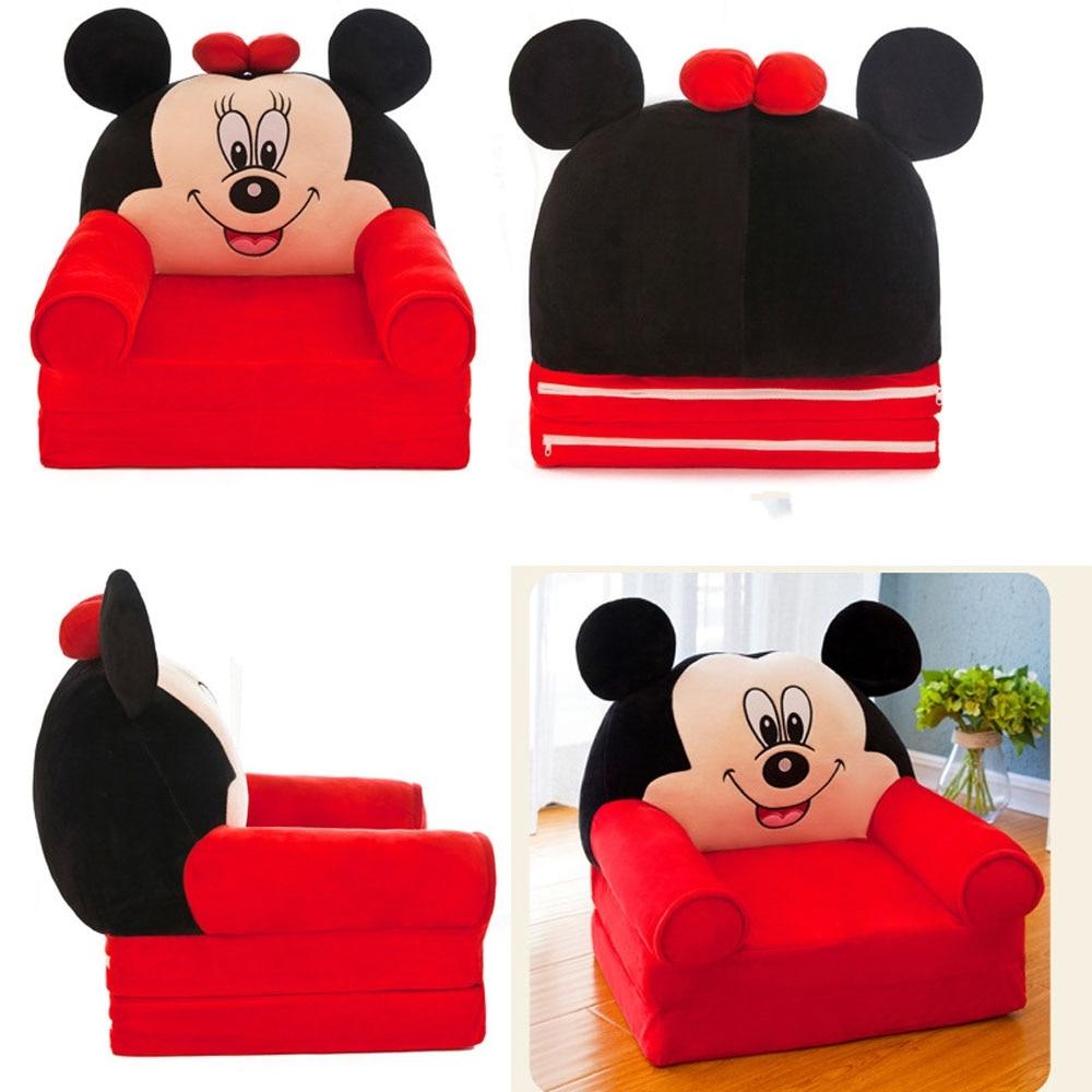 Foldable Baby Kids Cartoon Crown Sofa Seat Children Princess Chair Neat Puff Skin Children Lazy Backrest Plush�Seats Cushion