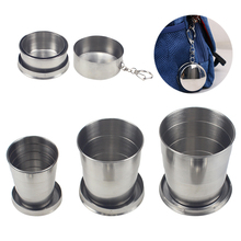 3pcs/lot stainless steel folding cup outdoor camping trip telescopic 60ml 140ml 250ml  retractable wine with keychain