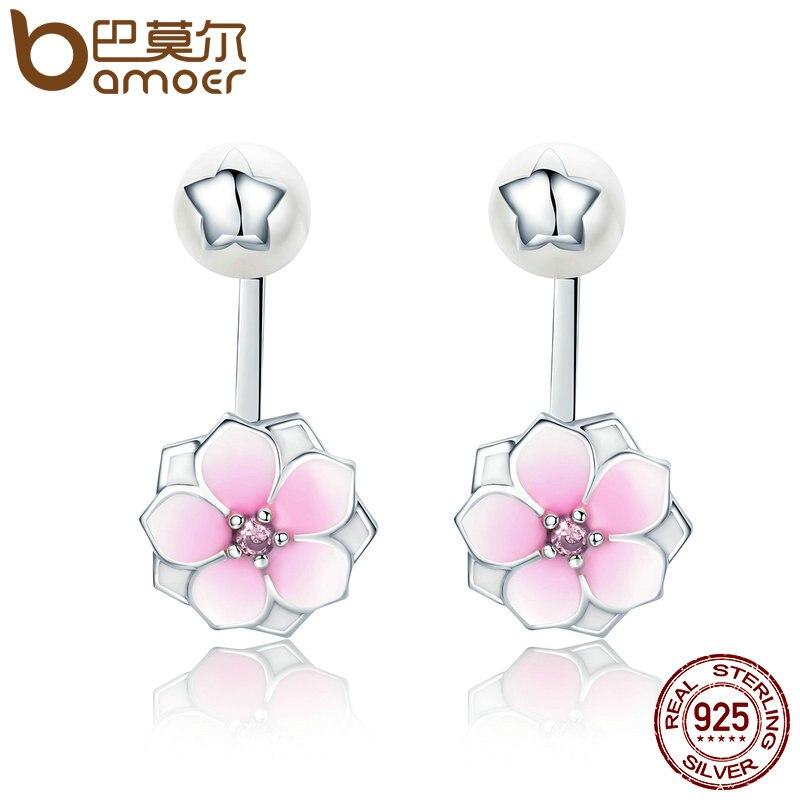BAMOER Genuine 925 Sterling Silver Magnolia Bloom, Pale Cerise Enamel Drop Earrings for Women Brincos Fine Jewelry Bijoux SCE142