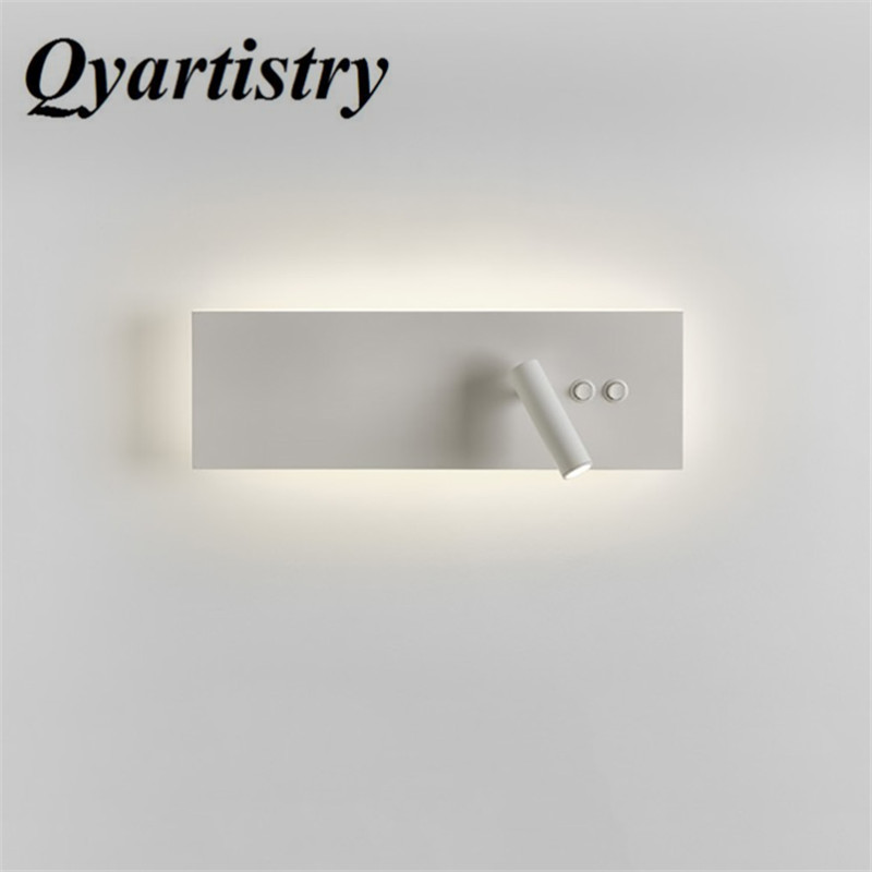 Hot 2018 modern minimalist double lamps double switch bedroom LED wall lamp hotel bedside reading lamp bedside lamp