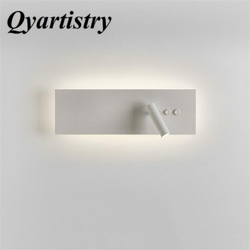 Hot 2018 moderne minimaliste double lampes double interrupteur chambre mur LED lampe hôtel chevet lecture lampe de chevet