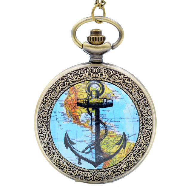 New Fashion The Rudder Anchors Roman Numeral Dial Quartz Pocket Watch Analog Pen
