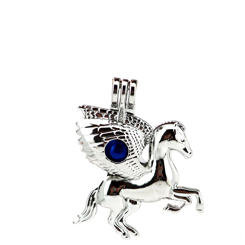 K843 5pcs/lot Horse Wing Running Pearl Beads Cage Pendant Locket Fairytale Party Essential Oil Diffuser