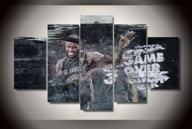 Quality Framed Printed lebron james dwyane wade Painting on canvas ...