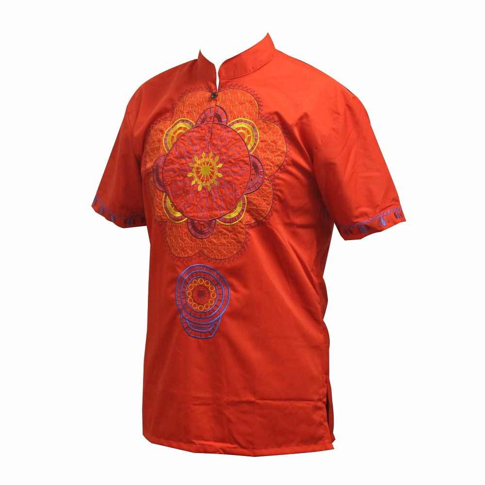 Men Short Sleeve African Dashiki Printed T Shirts Hippie Ethnic Party Top Blouse