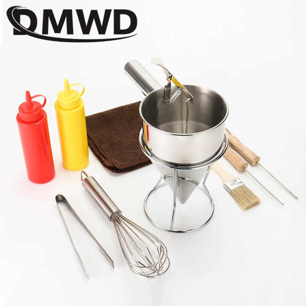 DMWD takoyaki needle sauce bottle dispener stainless steel Octopus balls filler manual batter separator eggs blender baking set