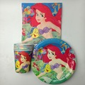 60pcs the Little Mermaid theme 20pcs cups+ 20pcs plates+20pcs Napkins for kids happy birthday party decoration