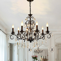 Black metal chandelier crystal lighting for dining room bedroom crystal Hanging lamp Kitchen Bar E14 metal industrial lighting