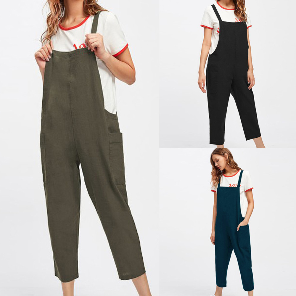 Telotuny Women Pregnant Jumpsuits Schooldays style Cotton Women Casual Dungarees Loose Cotton Pockets Rompers Jumpsuit JU 27
