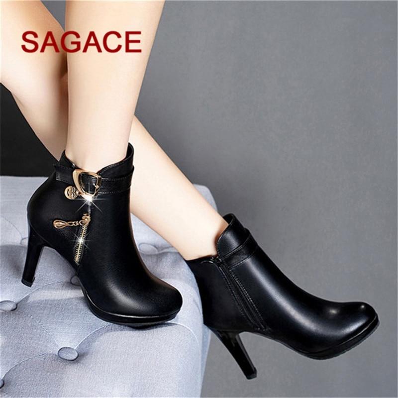 Tacón Sagace Redonda Alto Cuero Botas Corto Hb Tubo Cremallera Color Punta Mujer De Zapatos Con Sólido wCqwUxTdX