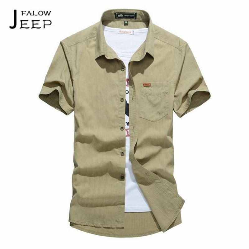 FALOW JI PU Short Sleeve Cotton 100% Summer Mans Motorcycle Solid Cargo Shirt,2017 Male Slim Buttons camisa manga corta man