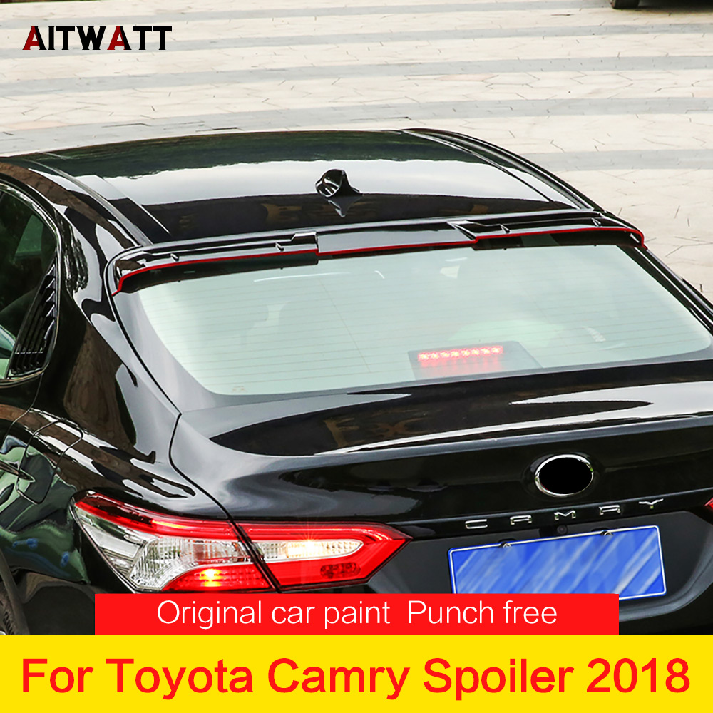 Car Rear Spoiler For Toyota Camry 2018 Auto Part ABS Plastic Material Black Color Rear Trunk Boot Wing Spoiler Car Styling 1pcs