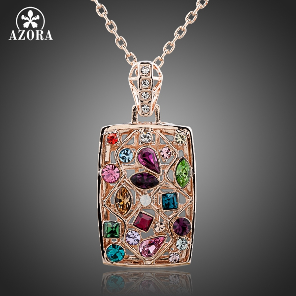 AZORA Gorgeous Rose Gold Color Multicolour Stellux Austrian Crystal Jewelry Pendant Necklace TN0083