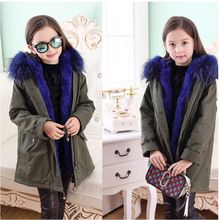 New Fashion Winter Boy Girls Coat Thicken Children Warm Fur Army Green Coat Fit 4-12 Years Old Kids High Quality Clothes HL0749