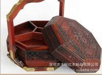 Высокая конец ручной работы деревянные корзины стиль луна торт упаковки