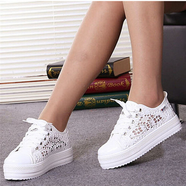 2018 Summer Women Shoes Casual Cutouts Lace Canvas Shoes Hollow Floral Breathable Platform Flat Shoe White Black 23-25.5cm summer women shoes casual cutouts lace canvas shoes hollow floral breathable platform flat shoe sapato feminino lace sandals page 3