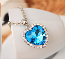 Moana Kolye Rushed Hot Sale Collares Maxi Necklace Collier Classic Fashion Titanic Heart Of Ocean Pendant Zircon Luxury C254 classic heart pendant