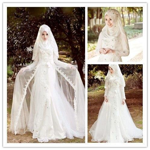 Vintage Muslim Langarm Brautkleider Mit Hijab Islamischen Plus Größe ...