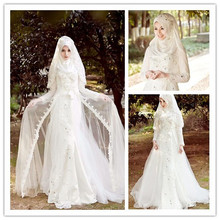 Vintage Muslim Long Sleeve Wedding Dresses With Hijab Islamic Plus Size Colorful lebanon Wedding Gown Gelinlik Dantel MSL08