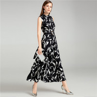2019 spring summer elegant long Jumpsuits for women high quality runway brand style sleeveless full length jumpsuits wide leg
