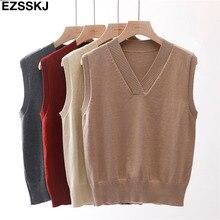 Базовый Повседневный свитер размера плюс на весну и осень, женский свободный свитер без рукавов с v-образным вырезом, Женский пуловер