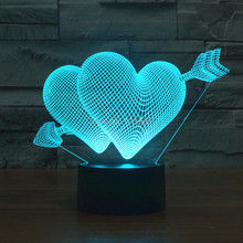Free Ship 7 Color Changing The Arrow of Love 3D LED Night Light USB Decorative Cupids Table Lamp Desk Lighting