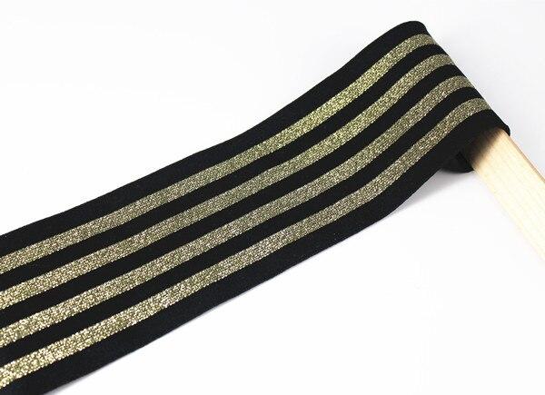 72mm elastic stretch black gold ribbon scrapbooking lace trim