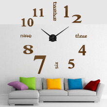 купить 2018 New Classic Silver Hands Quartz Wall clock 3D Big Size Wall Clock Silver Mirror Sticker Exquisite Gift European Style дешево