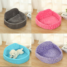 Warm Cat Bed House Round Dog Beds with Cushion Sleeping Mat Pad Nest Kennel Pet Removable Puppy Cute for Small Medium Dogs