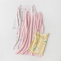 CEARPION Elegant O neck Women Long Sleeve Nightgown Casual Cotton Sleepwear Summer New Soft Night Dress Female Home Gown