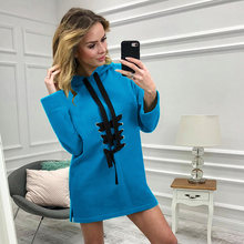Women Pockets Pullover Casual Blue Red Black Hoodies Women Tracksuit Bandage Design Sweatshirt Female Slim Hoody Dress Dropship(China)