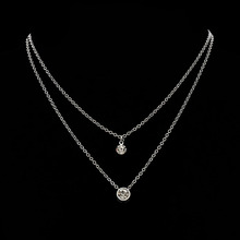 Crystal Double Layers Women Chokers Link Chains Necklace Female Rhinestone Business Jewelry Accessories Necklace Female Choker