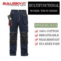 Bauskydd мужские мужской прочный спецодежды нескольких карман брюк с наколенниками для работы на открытом воздухе 100% хлопок работы Штаны Беспл...