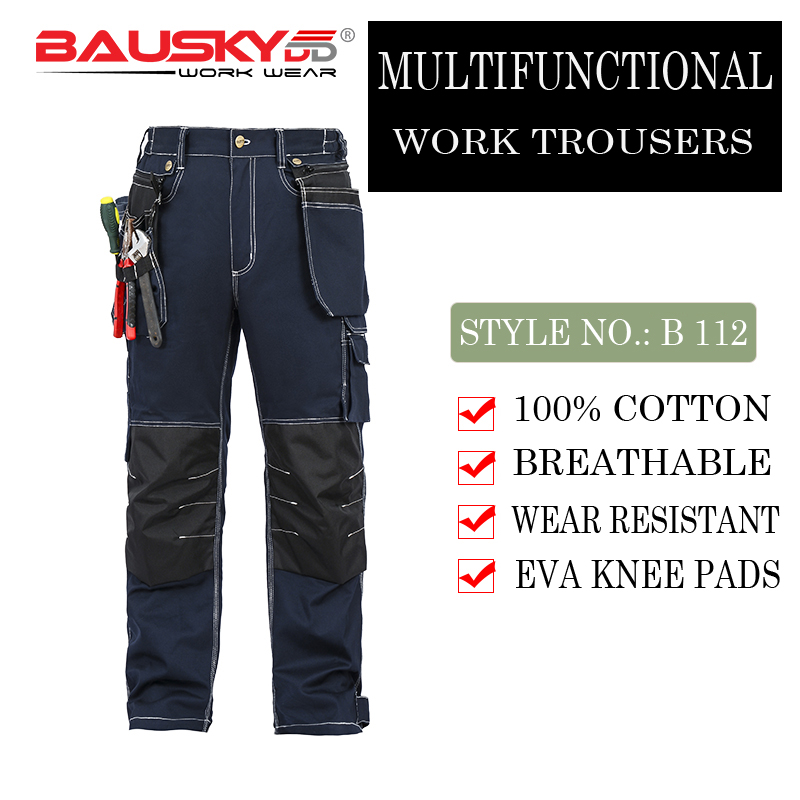 Bauskydd Mens Male Durable workwear multi-pocket trousers with knee pads for work outdoor 100% cotton work pants free shipping bauskydd ce eva knee pads for work kneelet for work pants genouillere knee protection detachable removable knee pads kneepads