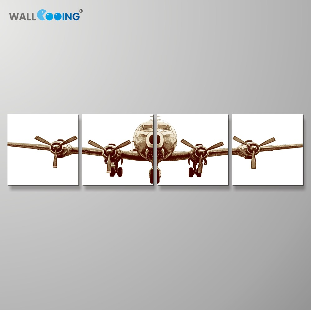 wall cooing 4Pcs/Set Airplane canvas painting simple and noble home decoration artwork modern living room art wall pictures image
