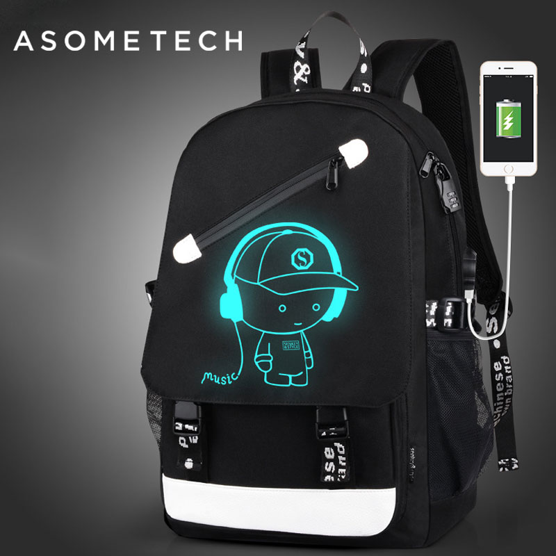Fashion Men's Backpack For Mac air pro13 Luminous teenager S