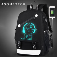 Fashion Men's Backpack For Mac air pro13 Luminous teenager School Bag External USB Charge Laptop Backpacks Casual Travel Mochila